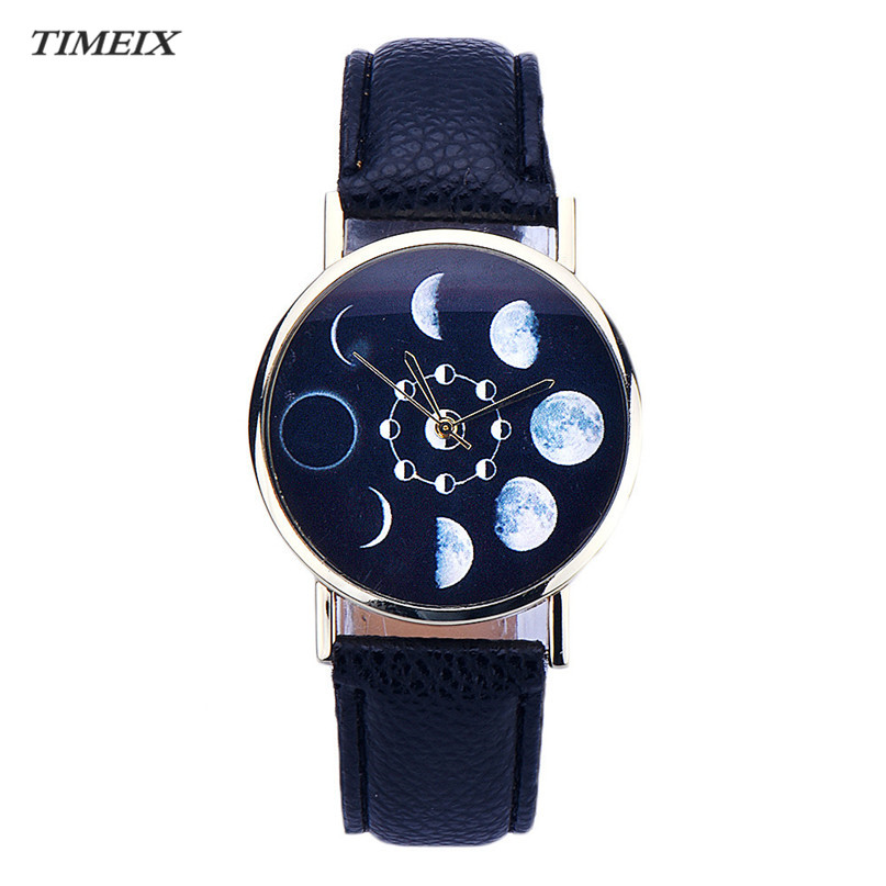 Women Watch New Design Lunar Eclipse Pattern Leather Analog Quartz Wrist Watch Women Free Shipping,Mar 15*60