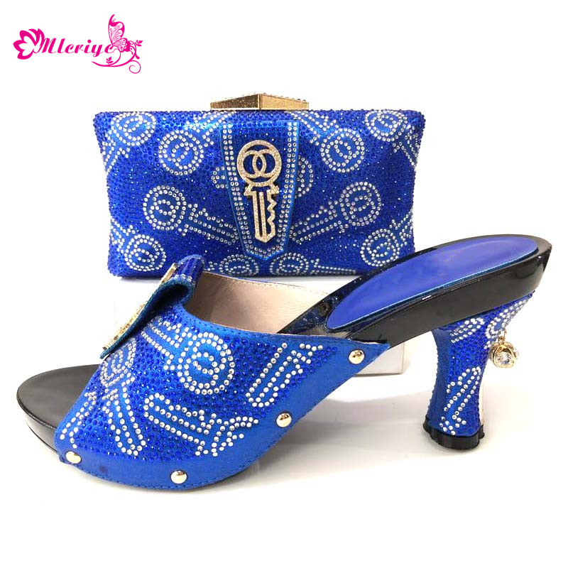 pourpre Et bleu Ensemble Fixés Sacs or Strass rouge Nigérian Avec Chaussures D'été Noir Décoré Femmes Italiennes Assortis Argent argent Les TZvqg