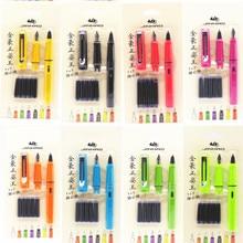 Juego de 5 Uds de tinta azul Jinhao de calidad de lujo 0,38/0,5mm pluma estilográfica suministros de papelería de oficina bolígrafos de tinta para escribir