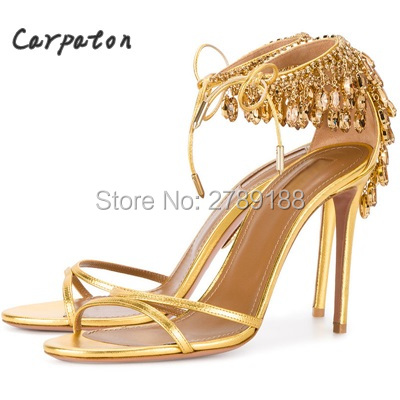 Milla Crystal Fringe Suede Sandals Jewel Embellished Gladiator Sandals Sexy High Heels Pumps Lace Up Bling Wedding Shoes Woman cute rhinestone thick high heels wedding dress shoes woman lace up gladiator sandals pink suede women pumps valentine shoe