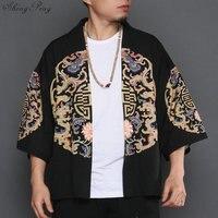 Kimono cardigan men traditional japanese mens clothing yukata japan kimono men samurai clothing haori male V1281