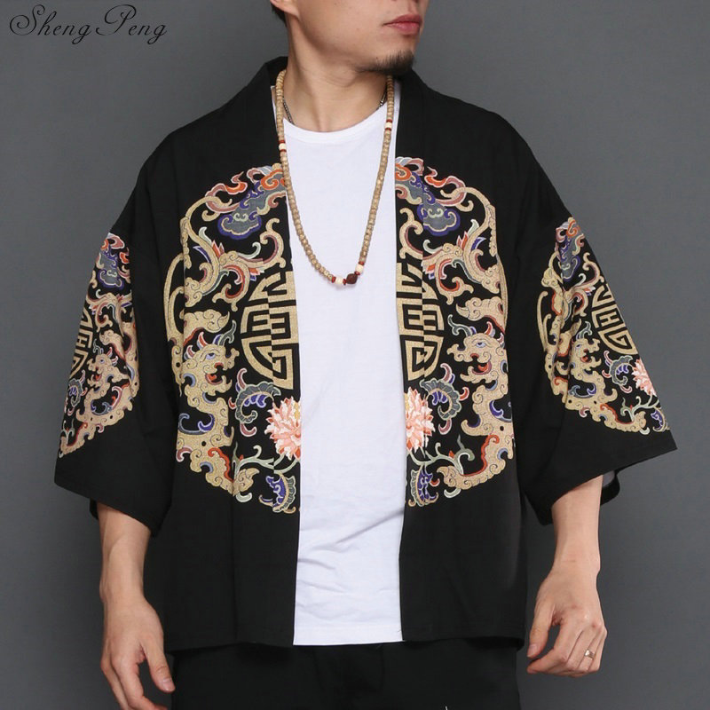 Kimono Cardigan Men Traditional Japanese Mens Clothing Yukata Japan Kimono Men Samurai Clothing Haori Male V1281