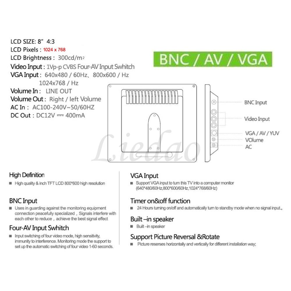 2017 New 8 inch HD 1024×768 Professional Screen Monitor With BNC / VGA / AV input Earphone Free Shipment – Black