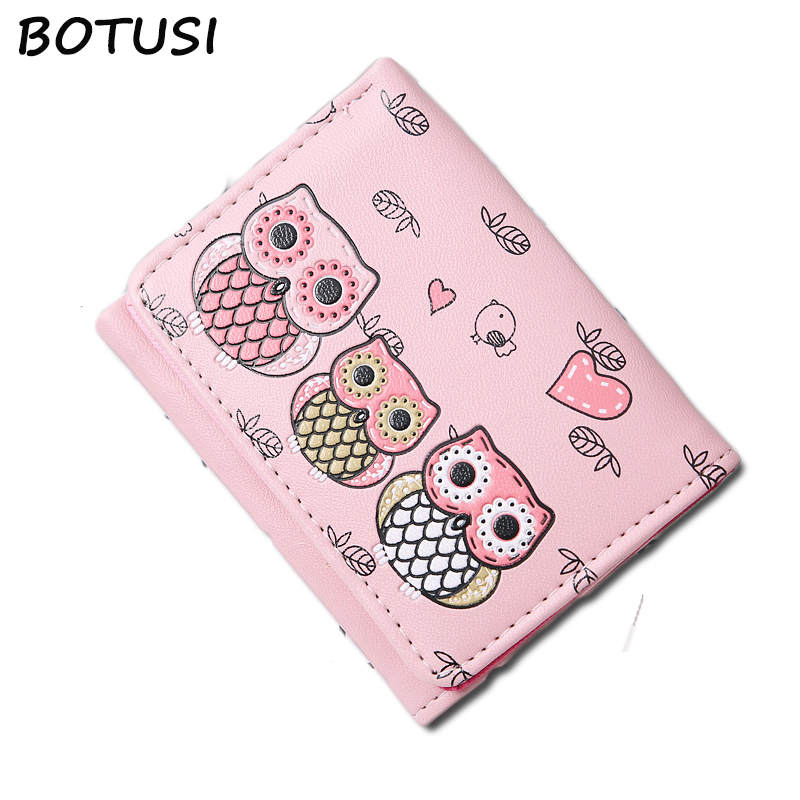 BOTUSI Carton Owl Women Wallets Small Fashion Brand Purse Women Ladies Card Bag For Women 2018 Clutch Women Female Purse