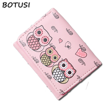 BOTUSI Carton Owl Women Wallets Small Fashion Brand Purse Ladies Card Bag for 2018 Clutch Female