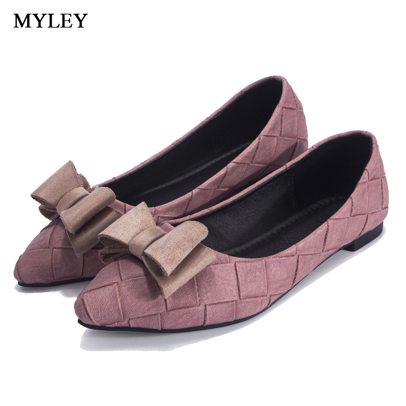 MYLEY 2017 New Fashion Women Casual Flat Pointed Toe Shoes Bowknot Design Comfortable Classic Formal Party Driving Boat Shoes new listing pointed toe women flats high quality soft leather ladies fashion fashionable comfortable bowknot flat shoes woman