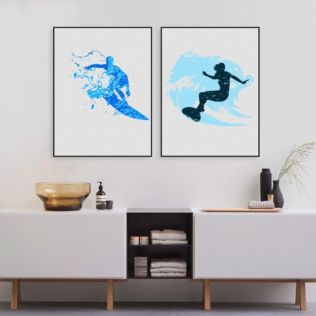 Watercolor Surfers Art Print And Poster , Modern Abstract Surfing Wall Art  Canvas Painting Pictures Bathroom