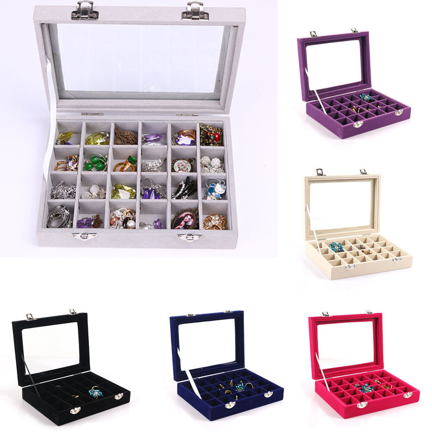 2019 New Organizer Glass Jewelry Display Protable Storage Box Holder Velvet Case Earring Ring Show Girl Women Earrings Plate