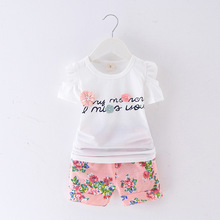 Summer Girl Set Children Suits Casual Flower Girl T shirt + Shorts Fashion Kids Clothing Sets