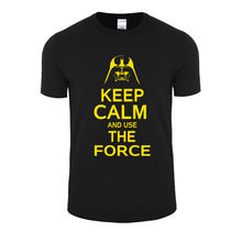 Good quality New Star Wars Darth Vader t shirt men shirt Keep Calm and awakens Use THE FORCE emoji tshirt homme funny t shirts