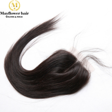 4×4″ Top lace closure Middle parting made of 100% Virgin hair hand tied with baby hair line Natural black can be dye