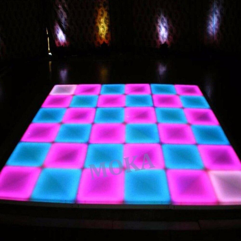 16 pcs/lot 1 M * 1 M RGB piste de danse LED DMX 512 contrôleur bon effet panneaux de piste de danse LED pour les événements de mariage