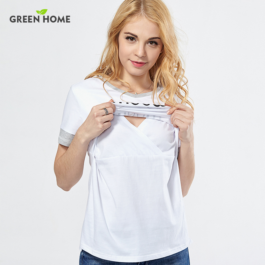Green Home Summer 100%Cotton Nursing Clothes T-shirt Simple Breastfeeding Nursing Clothes Breathable Maternity Nursing Tops