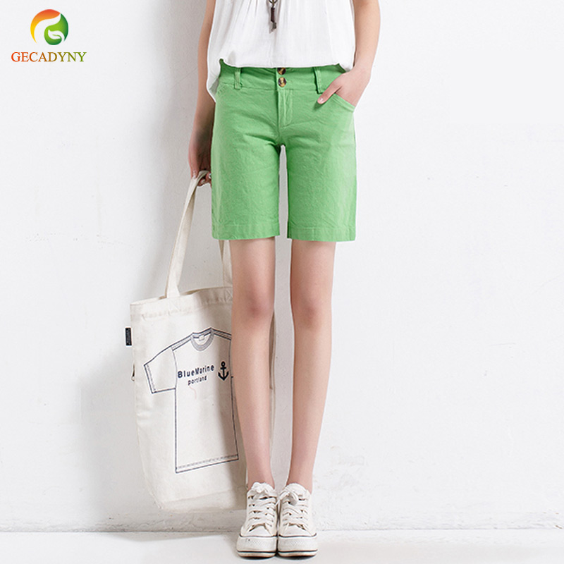 2018 Summer Female Candy Color Mid Waist Straight Cotton Linen   Shorts   Women Loose Slim Solid Regular   Shorts   Large Size S-XXL