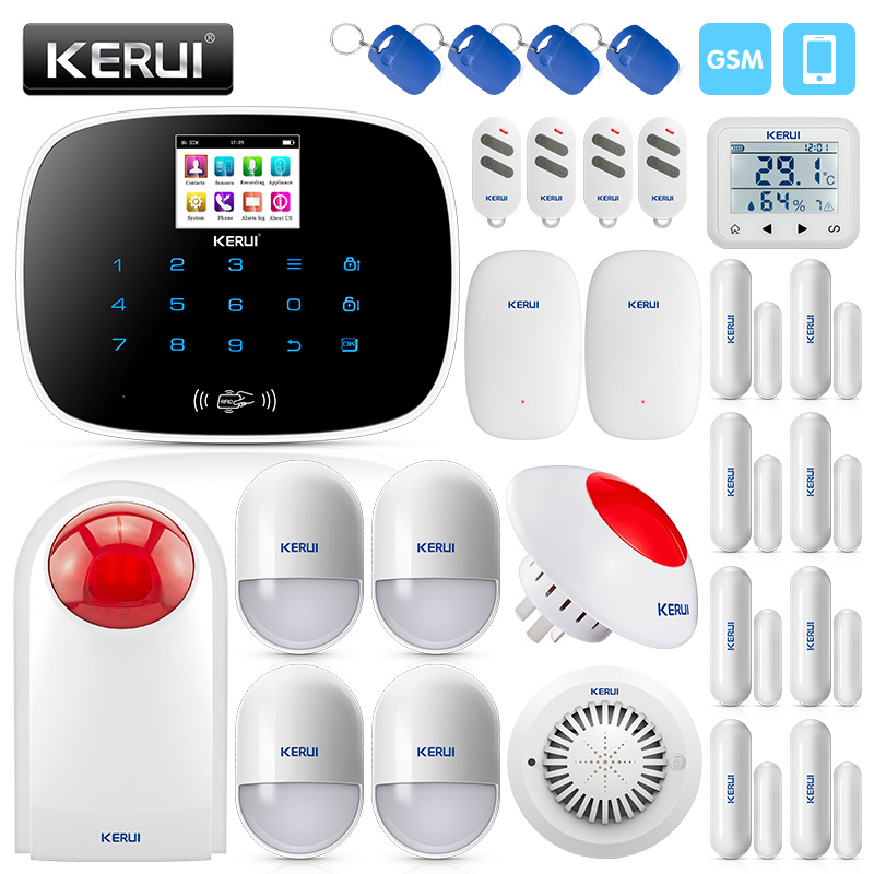 KERUI 2.4 Inch TFT Screen Wireless Home GSM Security Alarm System Motion Detector Door Sensor Burglar Alarm Leakage DetectorKERUI 2.4 Inch TFT Screen Wireless Home GSM Security Alarm System Motion Detector Door Sensor Burglar Alarm Leakage Detector