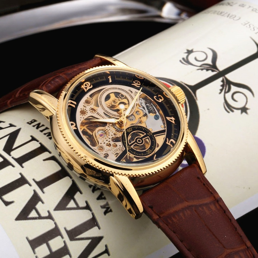 Mens Hollow Mechanical Watch Waterproof Male Business Genuine Leather Wrist Watches Arabic Numberal Dial Relogio Masculino