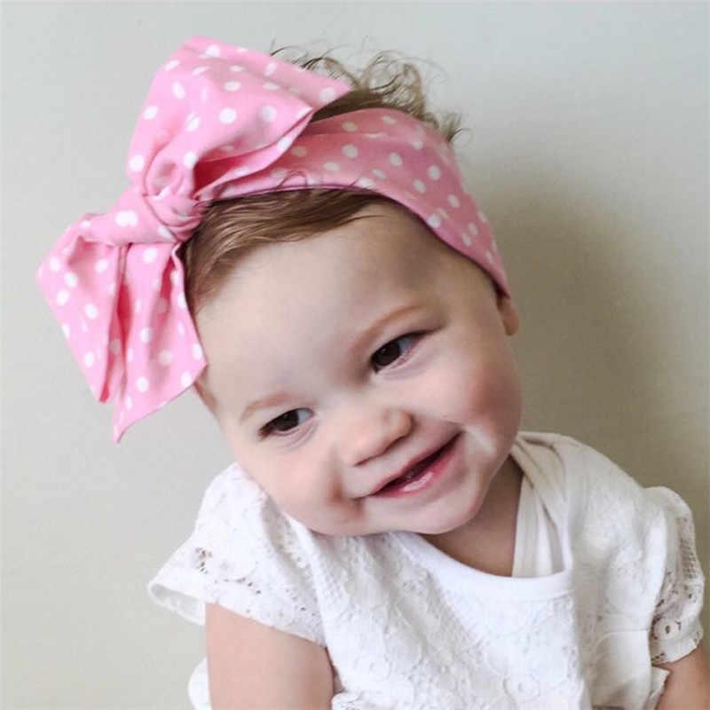 Rajut Polka Titik Pita Busur Simpul Kepala Membungkus Gadis Sorban Headwears Bayi Rambut Tali Balita Ikat Kepala Aksesoris Rambut Elastis