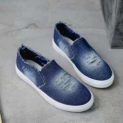 Women's flat denim canvas shoes low to help breathable casual shoes spring and autumn Korean students single shoes large size
