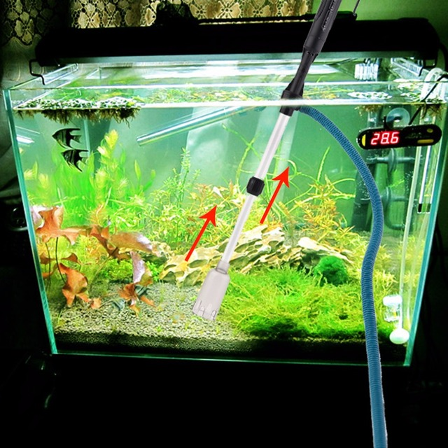 Nicrew Aquarium Gravel Battery Home Use Siphon Filter Cleaner Fish Tank Vacuum Pump Water Filter Clean Adjustable Height