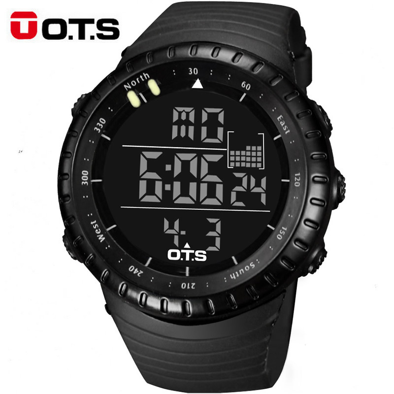 OTS Large Dial Digital Men Sports Watches Running Stopwatch 50m Waterproof Militar Led Electronica Quartz Watches Men 2018 Gift