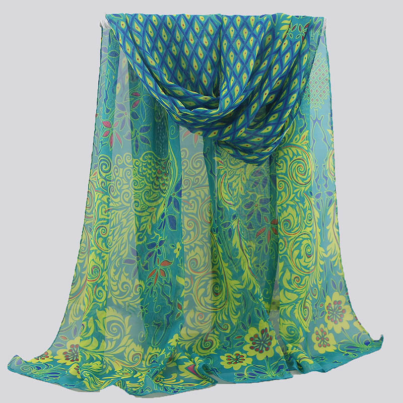 Hijab Scarf Summer Fashion Green Silk Scarf Chiffon Scarf Peacock Feather Print Women's Shawl Big Size Soft Wrap Stole Bandana