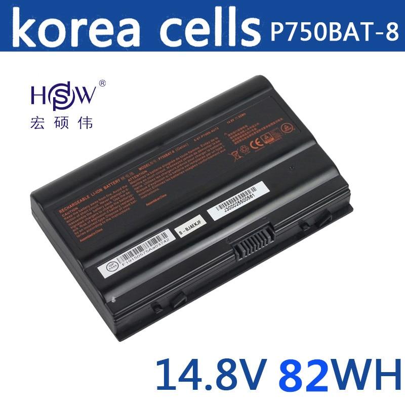 HSW 14.8V 82Wh P750BAT-8 Battery For Clevo P750ZM P751ZM P771ZM P770ZM P770ZM-G One K73-5N Geforce GTX 970M Terrans X599 XMG цена