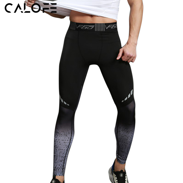 2017 Running Tights Men Sports Leggings Sportswear Gradient Printed JoggerPants Skinny Compression Fitness Athletic Trousers