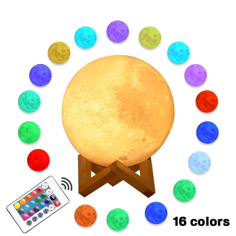 Moon Lamp 22cm 20cm 18cm 15cm 3D Print Rechargeable 16/2 Colors Change Touch Night Light Lunar Luna Baby Nightlight