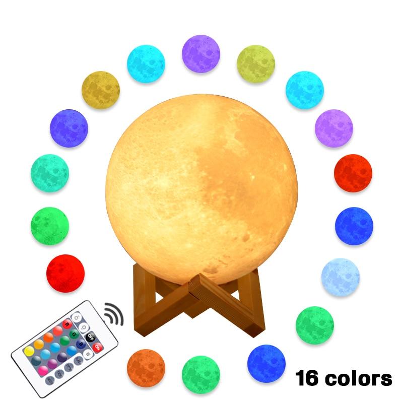 Moon Lamp 22cm 20cm 18cm 15cm 3D Print Rechargeable 16 2 Colors Change Touch Night Light