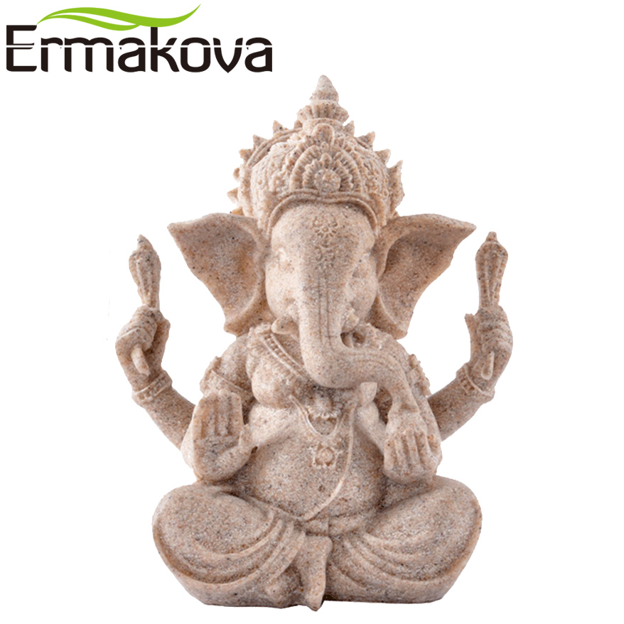 ERMAKOVA 13cm(3.5'')Tall Indian Ganesha Statue Fengshui Sculpture Natural Sandstone Craft Figurine Home Desk Decoration Gift
