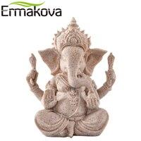 """ERMAKOVA 13cm(3.5 """") wysoka indyjska figura ganeshy Fengshui rzeźba naturalny piaskowiec rzemiosło figurka dekoracja biurka domowego prezent w Figurki i miniatury od Dom i ogród na"""