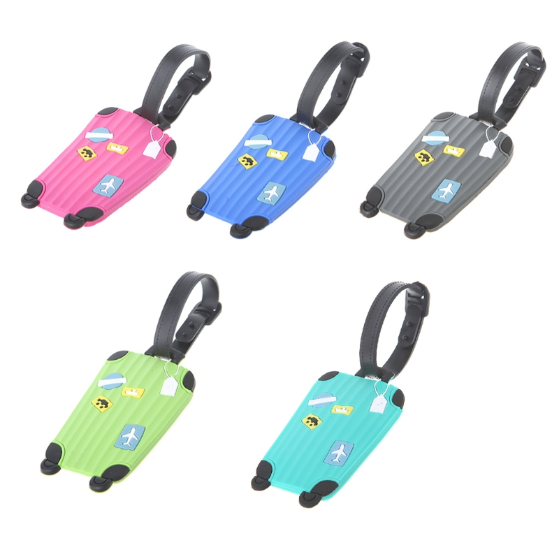 PVC Cartoon Travel Accessories Luggage Tags Labels Strap Name Address Tel Suitcase Bag Baggage Secure