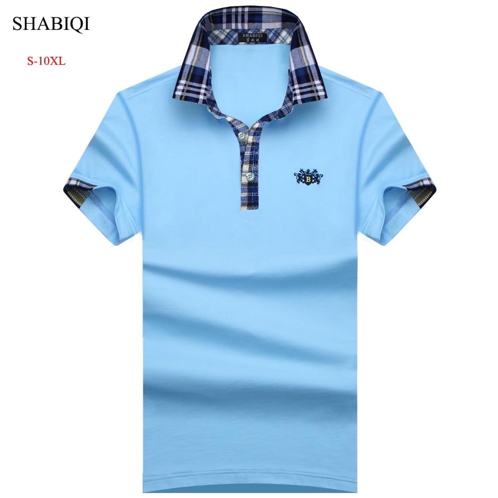 SHABIQI 2019 Brand Mens Polo Shirt Cotton Short Sleeve Shirt For Men Camisa Polos Homme Classic Casual Size 6XL 7XL 8XL 9XL 10XL