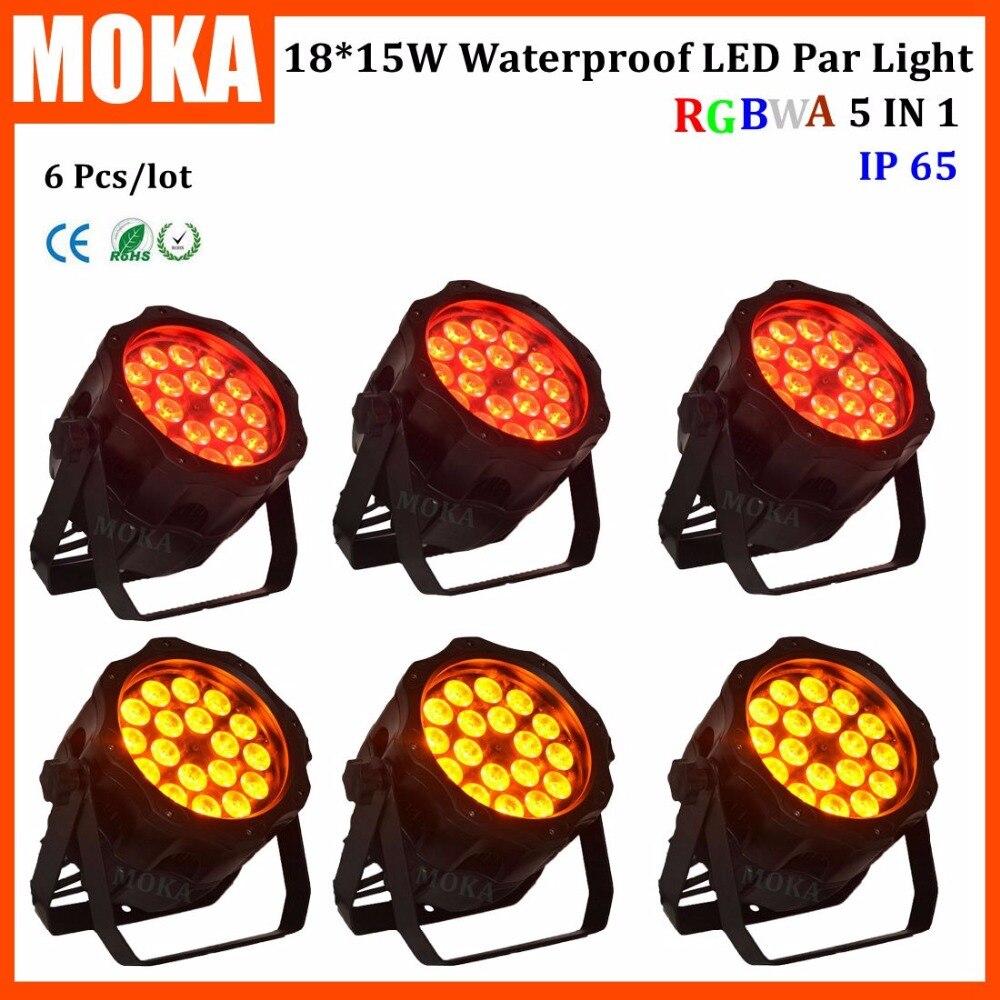 6 шт./партия диско бар большой 18*15 Вт LED RGBWA 5 в 1 этап эффект радуги проектор DMX512 2 каналы открытый показ номинальной света