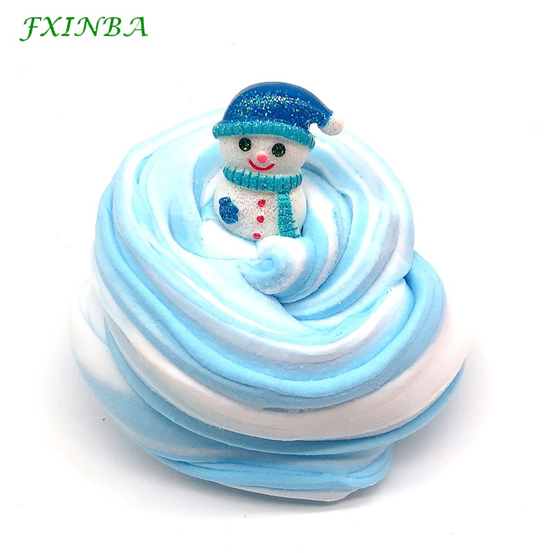 FXINBA 60ml/box Christmas Mixed Color Slime Fluffy Toys Soft Polymer Clay Lizun Supplies DIY Slices Plasticine Antistress