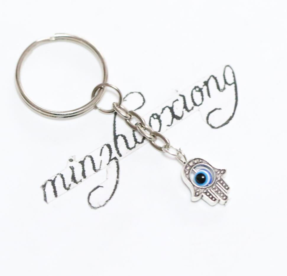 20pcs25mm Key Chain With Turkey Blue Eyes&Silver Kabbalah Fatima Hamsa Hand Charm Keychain Decorative Bag Keyring Gift