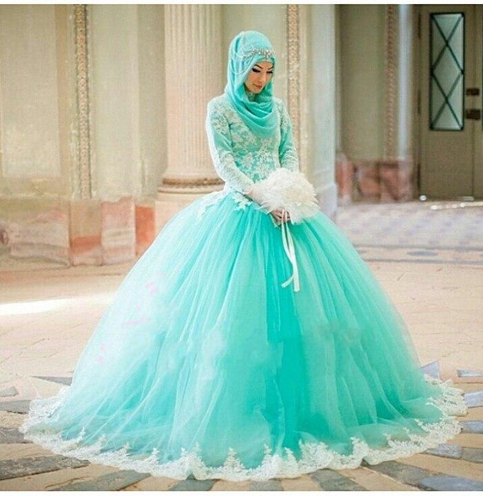 Vintage Lengan Panjang Muslim Wedding Dresses 2017 Ball Gown Vestido
