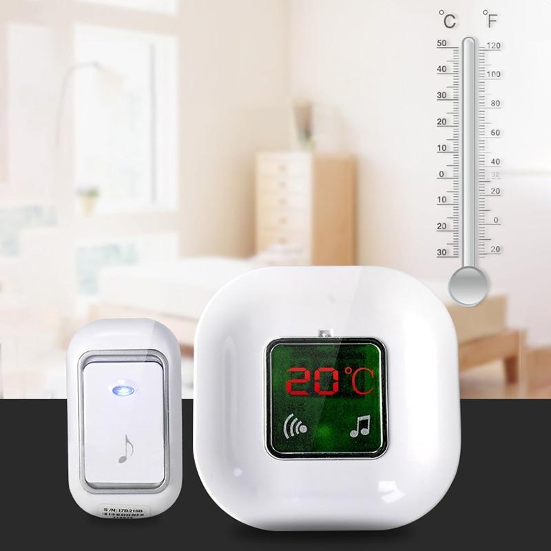 Haweel 120m Remote Control Wireless Doorbell Waterproof 2 in 1 Intelligent Household Thermometer Display LED Melody Door Bell waterproof  remote control doorbell
