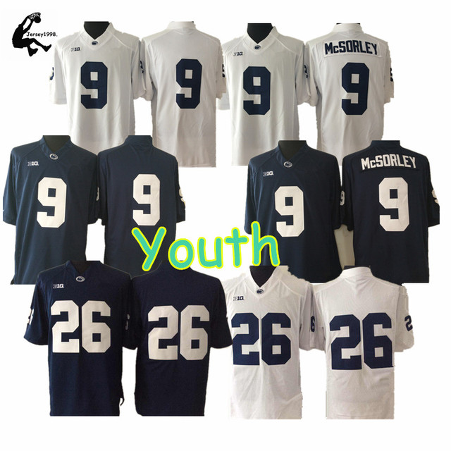 Youth Pennsy State Nittany Lions Jerseys 26 BARKLEY 9 McSorley Alternate Throwback Football For Kids
