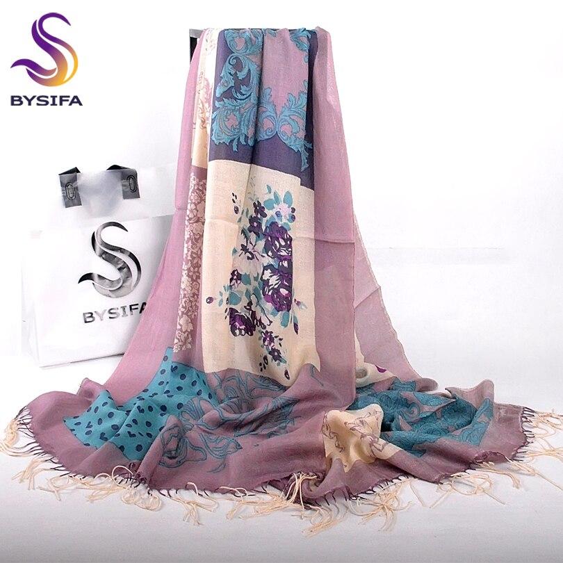 [BYSIFA] las mujeres de Color Púrpura Gris de Lana Bufandas Pashmina Nueva Marca China Rosas Borla Larga Bufanda de Lunares de Invierno Bufandas Calientes