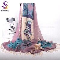 BYSIFA Women Purple Grey Wool Scarves Pashmina New Brand Chinese Roses Tassel Long Scarf Shawl