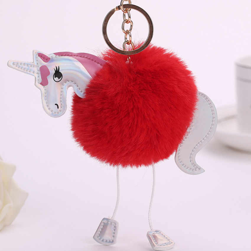 Novo unicórnio chaveiro pele mulheres 8 cm Faux Fur PomPom bola Carro Saco do Anel chave anel chave Moda Animal cavalo Charme Presente jóias K1620