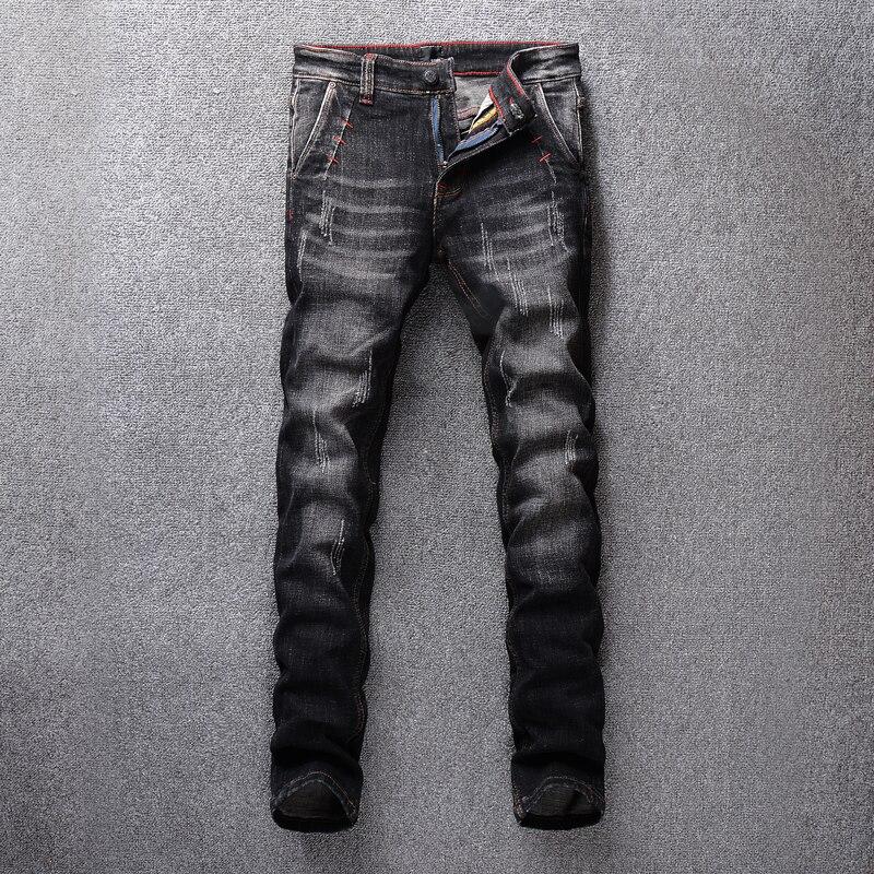Style Vintage italien mode hommes Jeans noir gris élastique classique Jeans Stretch Denim Long pantalon Streetwear Hip Hop Jeans hommes-in Jeans from Vêtements homme on AliExpress - 11.11_Double 11_Singles' Day 1