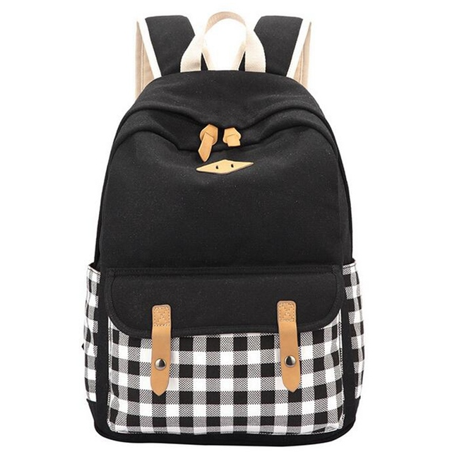 2017 New Korean Canvas Plaid Backpack Women School Bags for Teenage Girls  Cute Bookbags Vintage Laptop Backpacks Female YZ1255 a1acb5e04a7ec