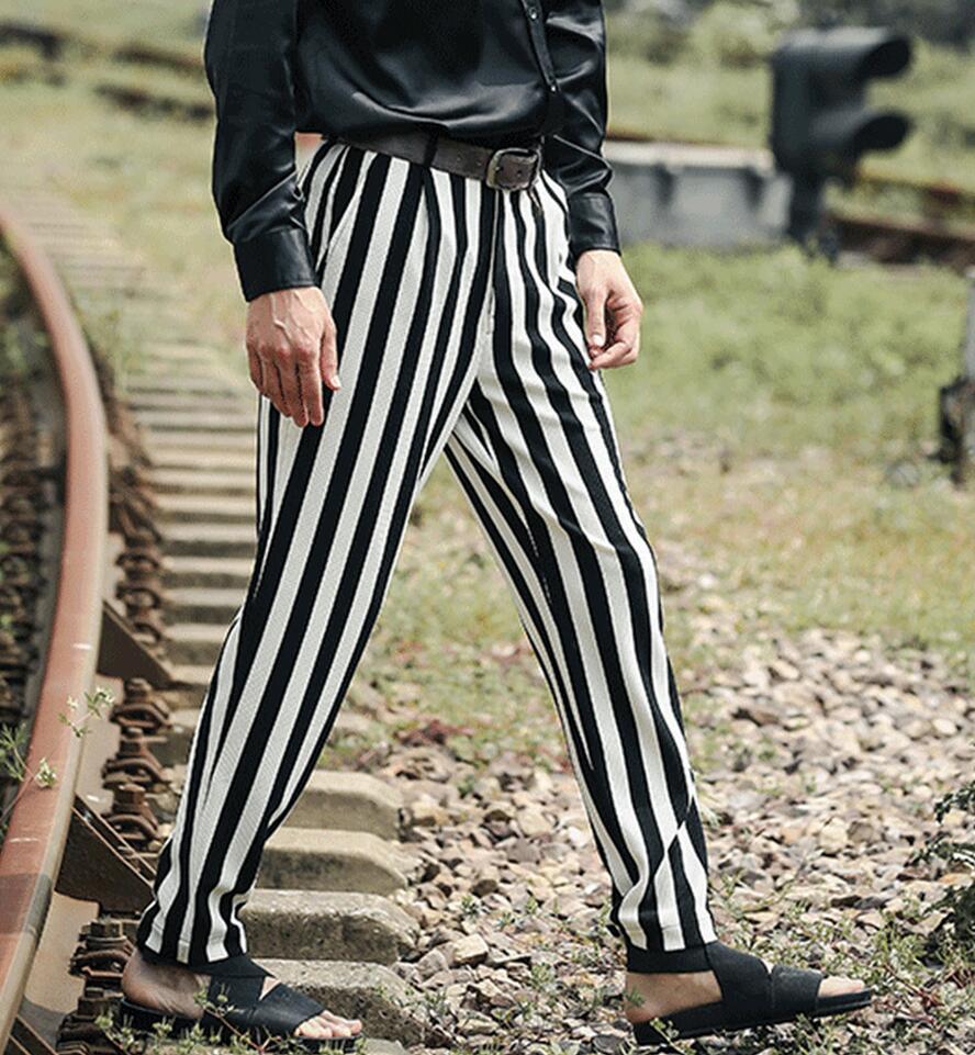 Neue Pluderhosen 29 Streifen Herrenbekleidung 38 2017 Kommerziellen Größe Friseur Stripe Kostüme Bigbang Fashion Freizeithosen Plus fUREgqFw