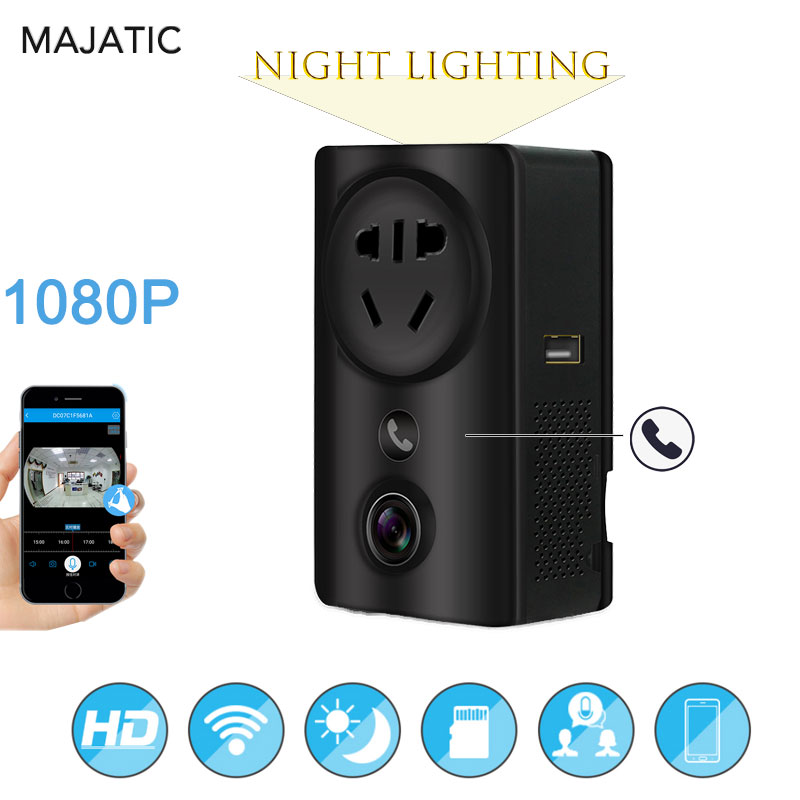 1080P Wifi IP Camera Socket USB Charger Adapter CCTV Wireless Panoramic Home Security Surveillance Cloud Storage Night light
