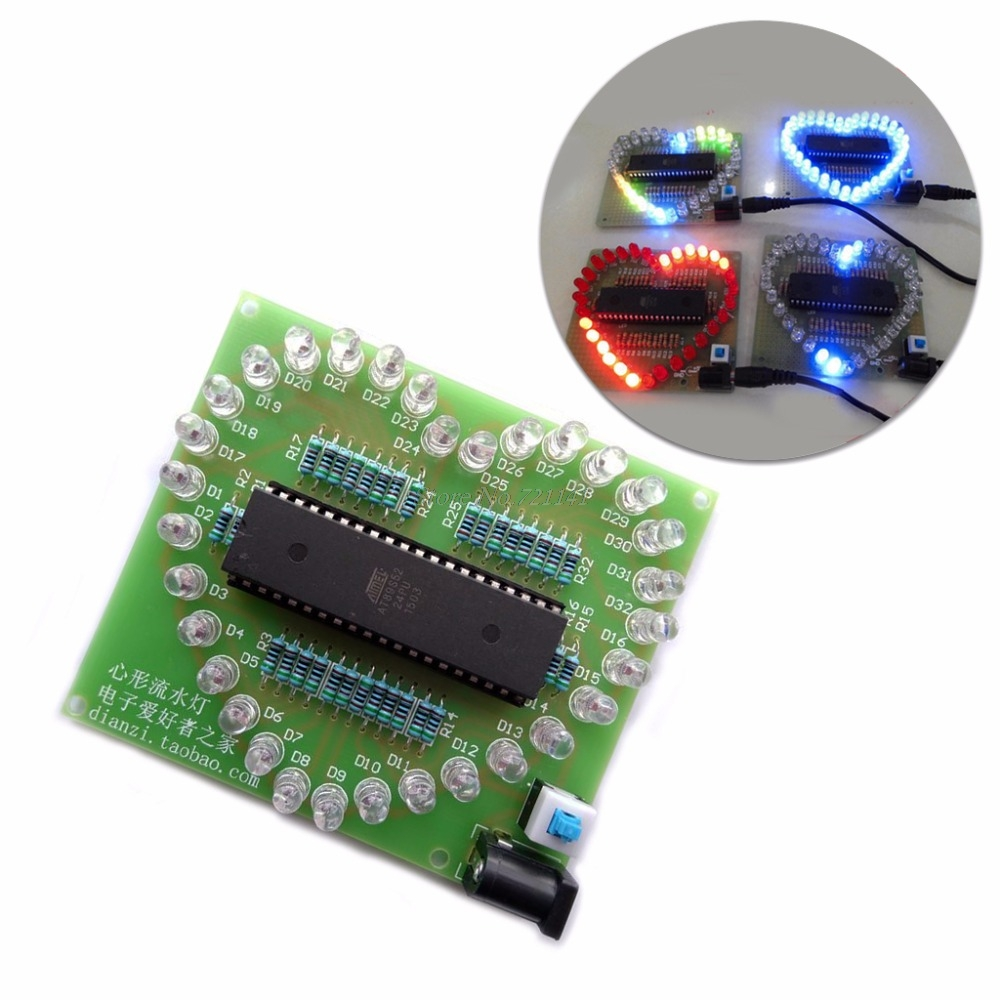 Heart Shape Colorful LED Module STC89C52 51 MCU Light DIY Electronic Kit