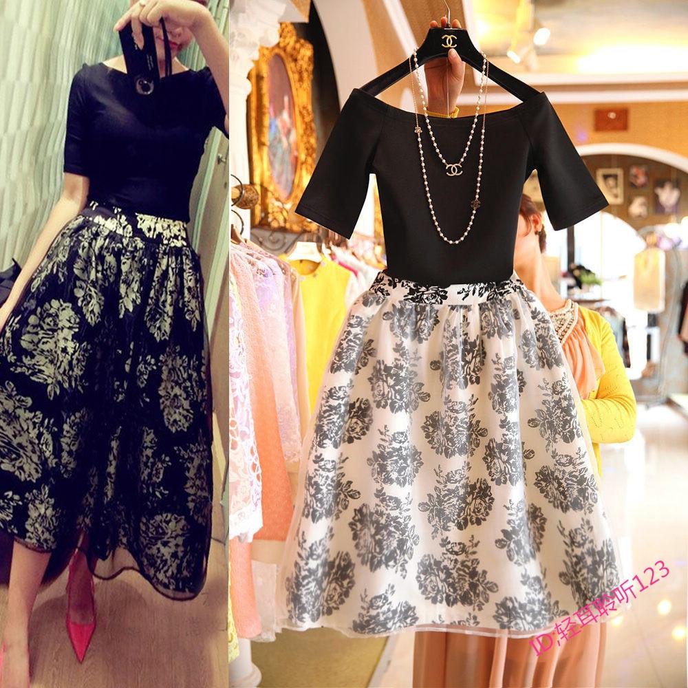 2015 Fashion Spring Summer Women Maxi Long Skirt Set 2 Piece Print ...
