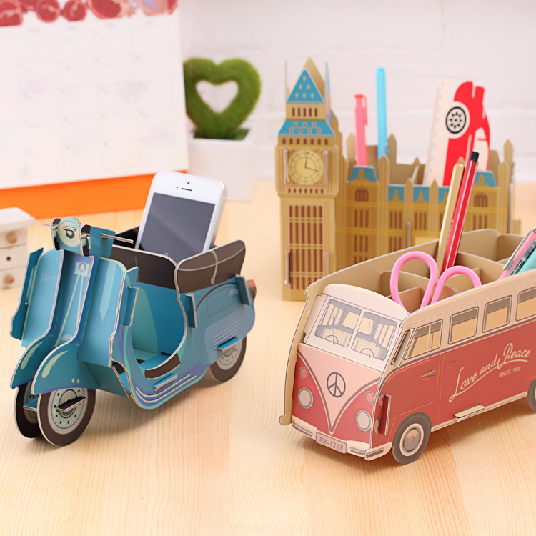 DIY Kawaii Toy Car Bus Foldable Pen Container Storage Rack Pen Box Organizer Office Supplies Stationery