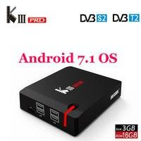 MECOOL KIII PRO DVB S2 DVB T2 DVB C Android 7,1 ТВ коробка 3 ГБ 16 ГБ Amlogic S912 Octa Core 4 К комбо NEWCAMD Biss ключ PowerVU